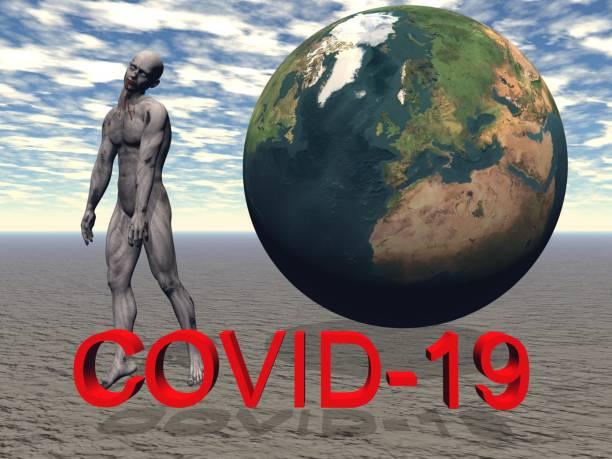 stop coronavirus and sky - 3d rendering stock photo