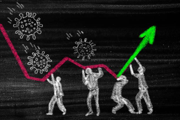 Stoppen Sie Coronavirus. Financial Crysis Rezession Wirtschaftskonzept – Foto