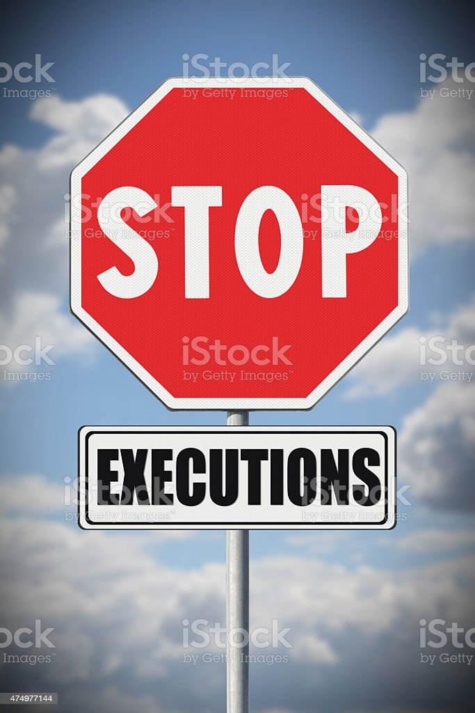 Stop death penalty written on road sign stock photo