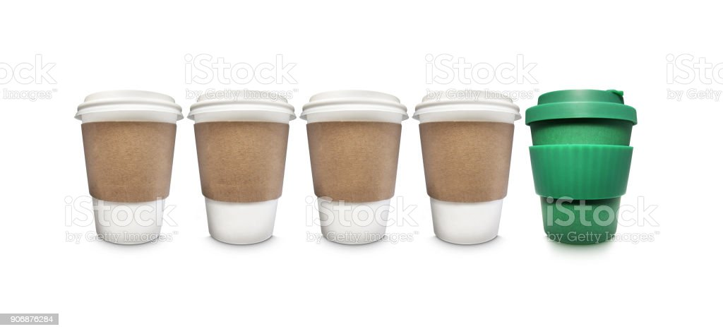 stop disposable coffee cups with reusable stock photo