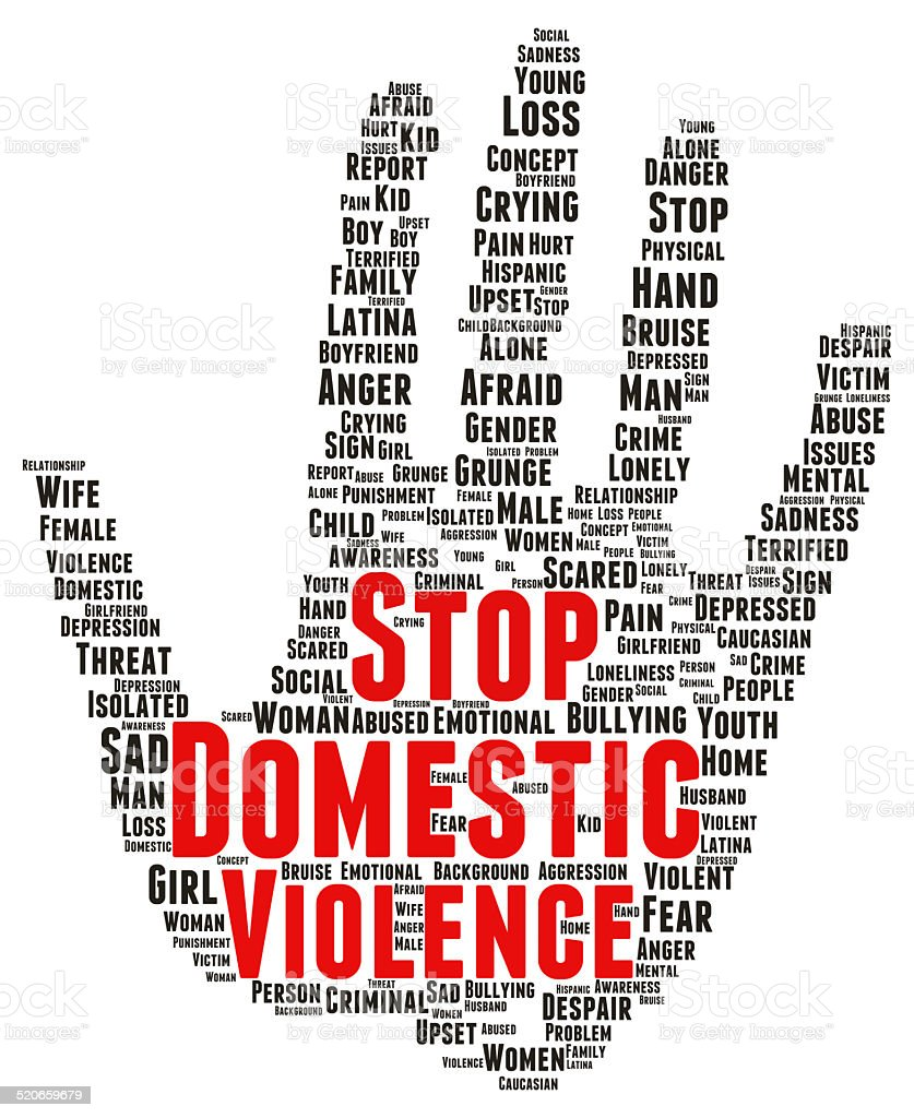 Stop domestic violence word cloud shape stock photo