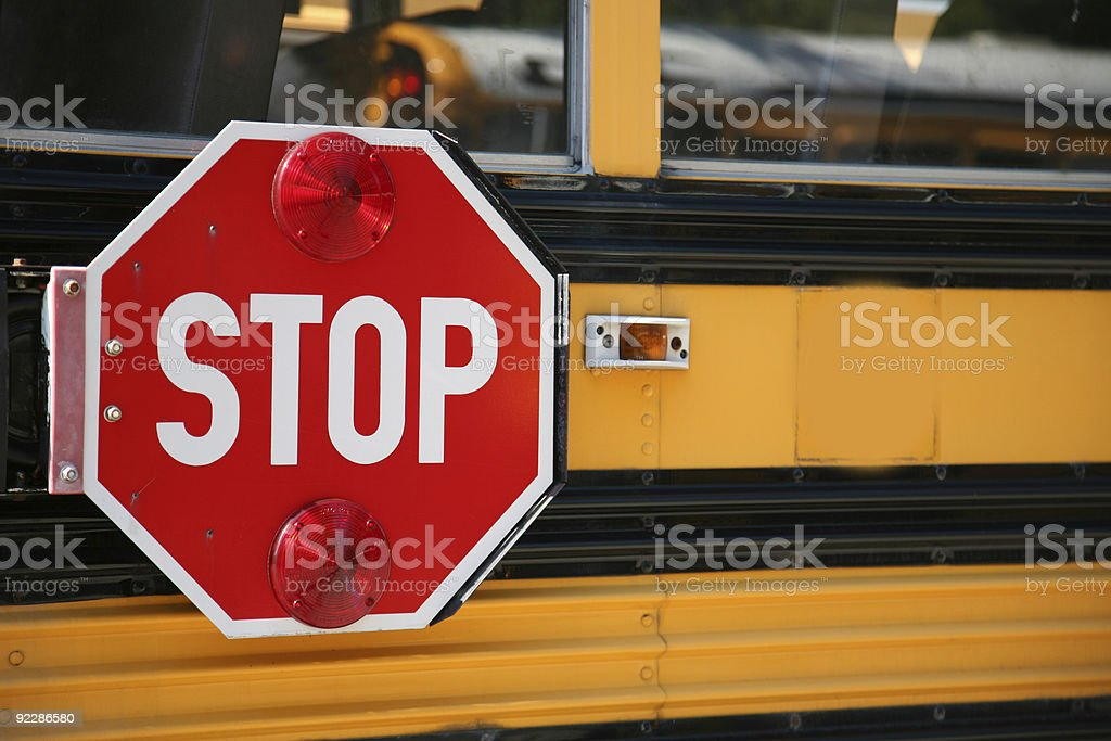 Stop for school buses stock photo
