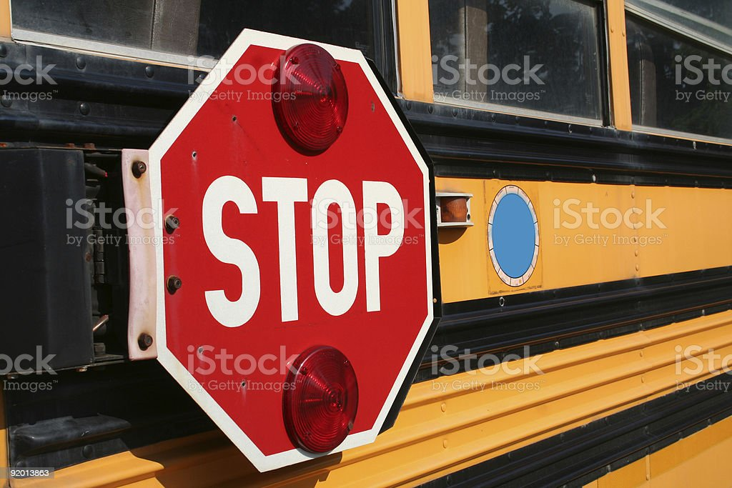 Stop for the school bus stock photo