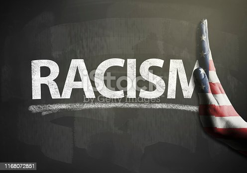 Stop hands sign with USA flag and RACISM / Flag blackboard concept (Click for more)