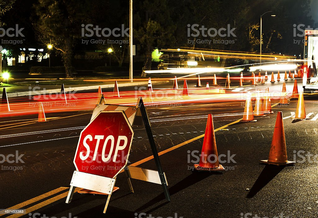 Stop here DUI checkpoint stock photo