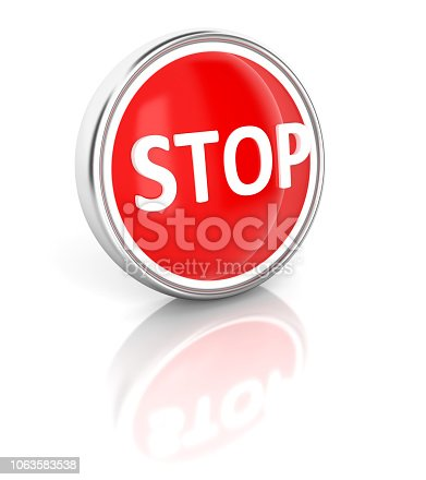 istock Stop icon on glossy blue round button 1063583538