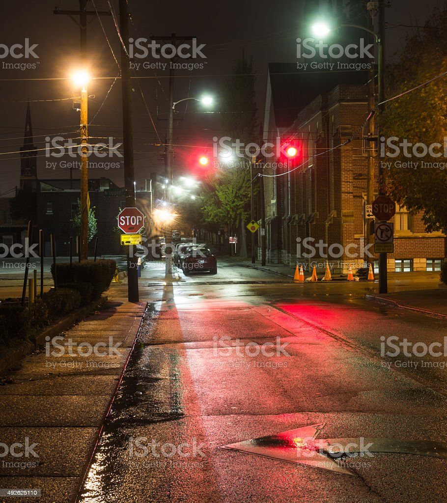 Stop in the evening stock photo