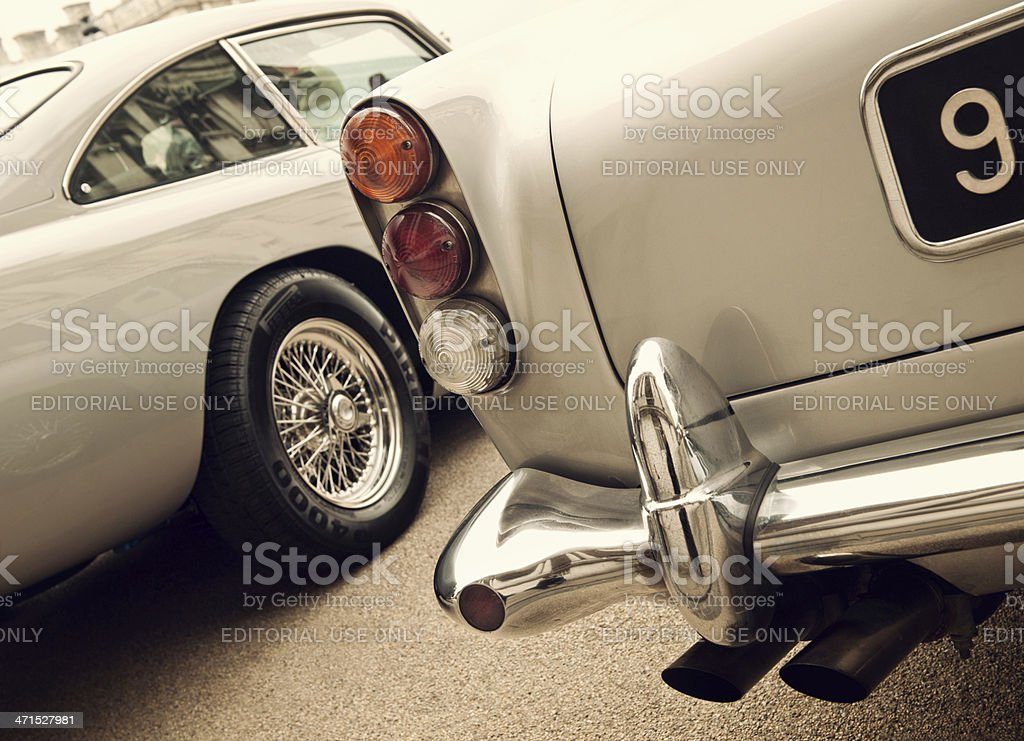 stop light and bumper of classical Aston Martin DB 5 stock photo