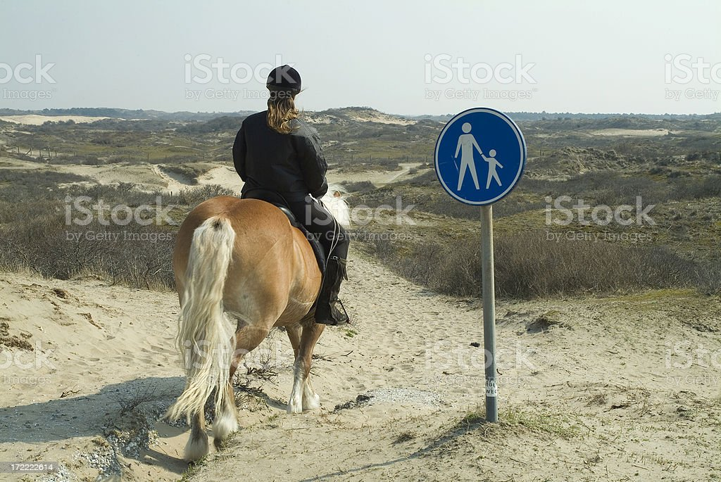 Stop, no horses allowed! stock photo