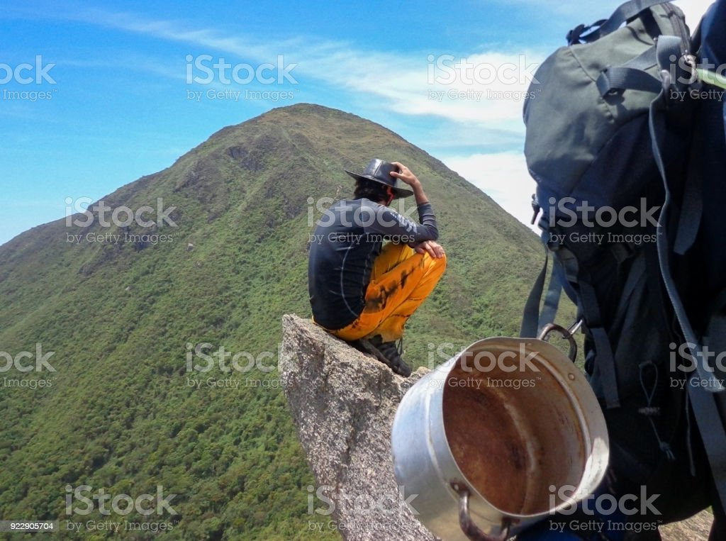 Stop of excurionist, backpack with camping stuff stock photo