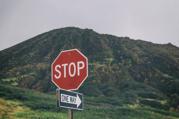 Stop, one way sign with beautiful mountains in the background stock photo