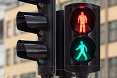 Pedestrian traffic light with both red and green lights illuminated.