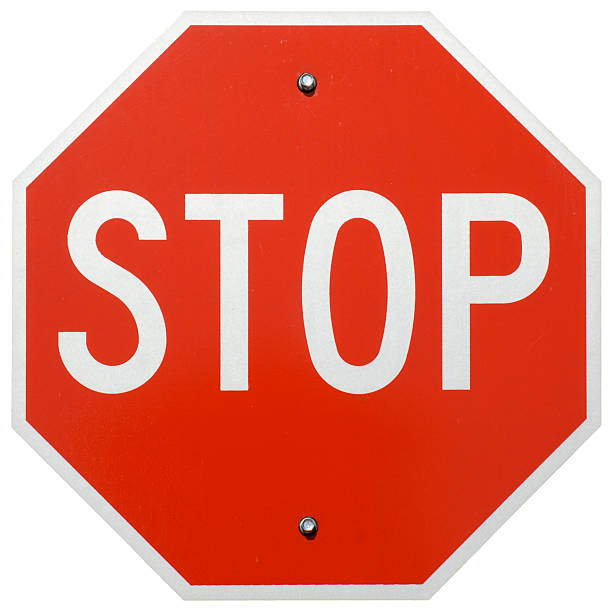 Stop Isolated image of a Stop sign stop single word stock pictures, royalty-free photos & images