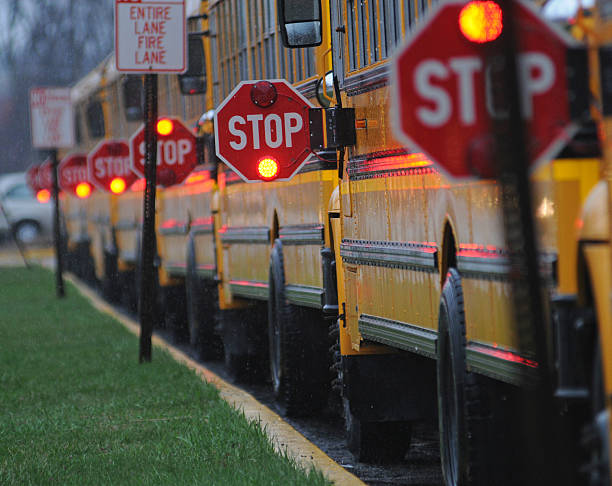 stop! - school buses stock pictures, royalty-free photos & images