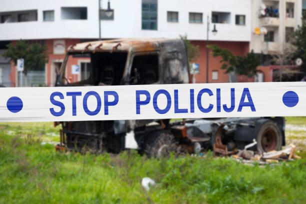 Stop Policija - Cordon tape stock photo