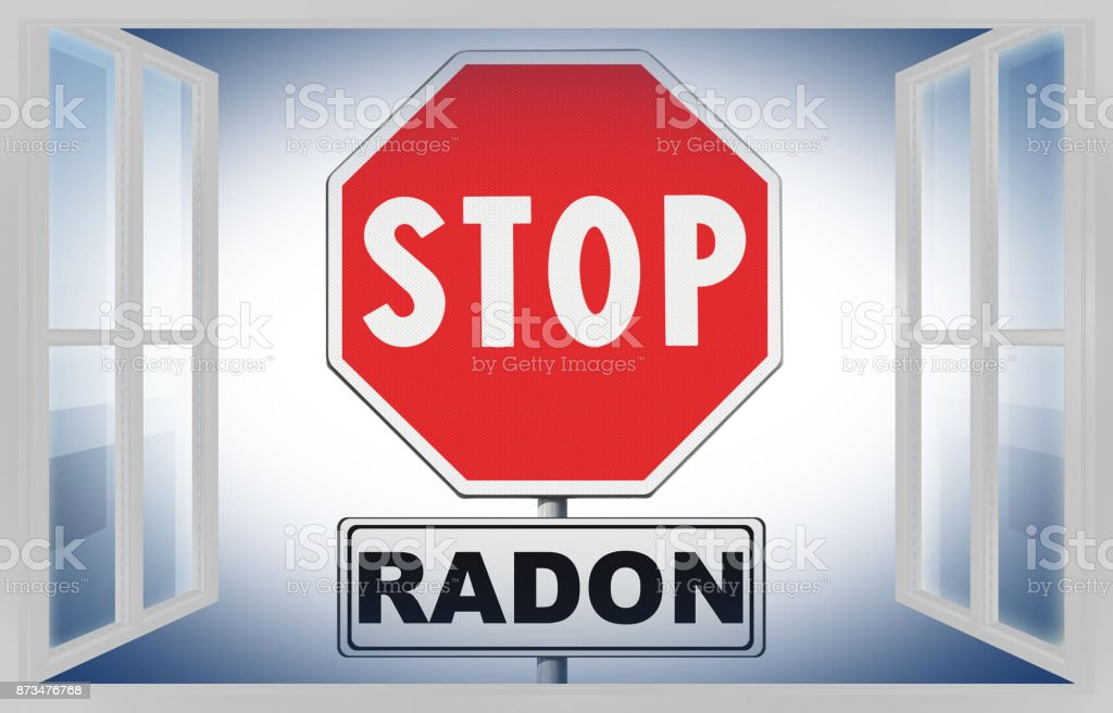 Stop radon - Concept image with road sign on white background seen through a window stock photo