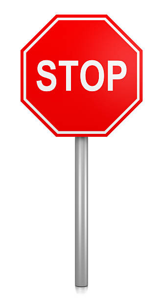Stop Road-Sign Classic Red Stop Road Sign on White Background 3D Illustration stop single word stock pictures, royalty-free photos & images