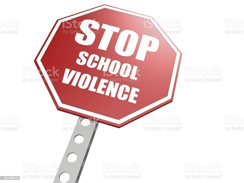 Stop school violence road sign stock photo