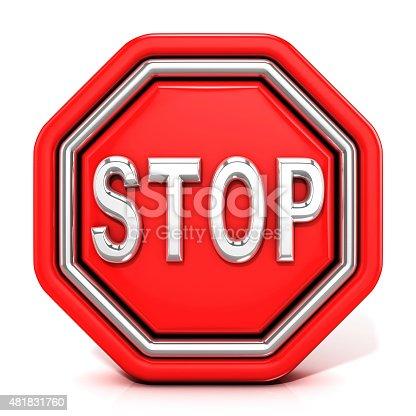 istock Stop sign. 3D render. Front view 481831760