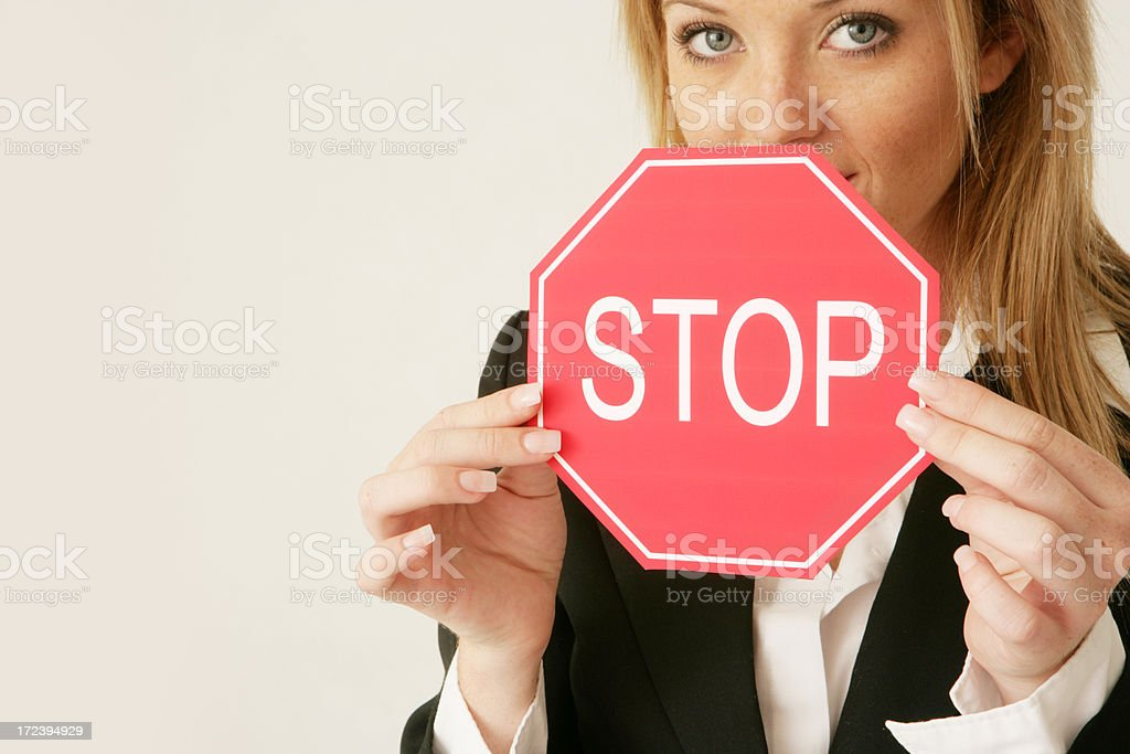 Stop Sign Lady royalty-free stock photo