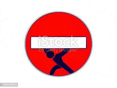 istock Stop Sign Man Lifting Heavy Work Load 1090036404
