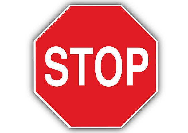 Stop Sign Red Coloured 'stop' Sign. Isolated on white. stop single word stock pictures, royalty-free photos & images
