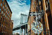 Stop sign with brooklyn bridge in background