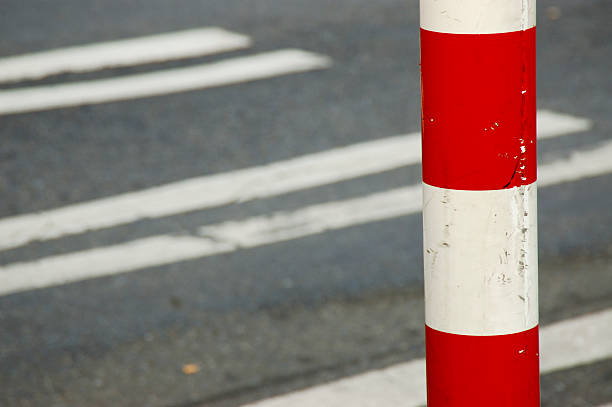 stop sign striped bar with crosswalk in the background stock photo