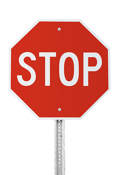 stop sign with clipping path - stop sign stock pictures, royalty-free photos & images