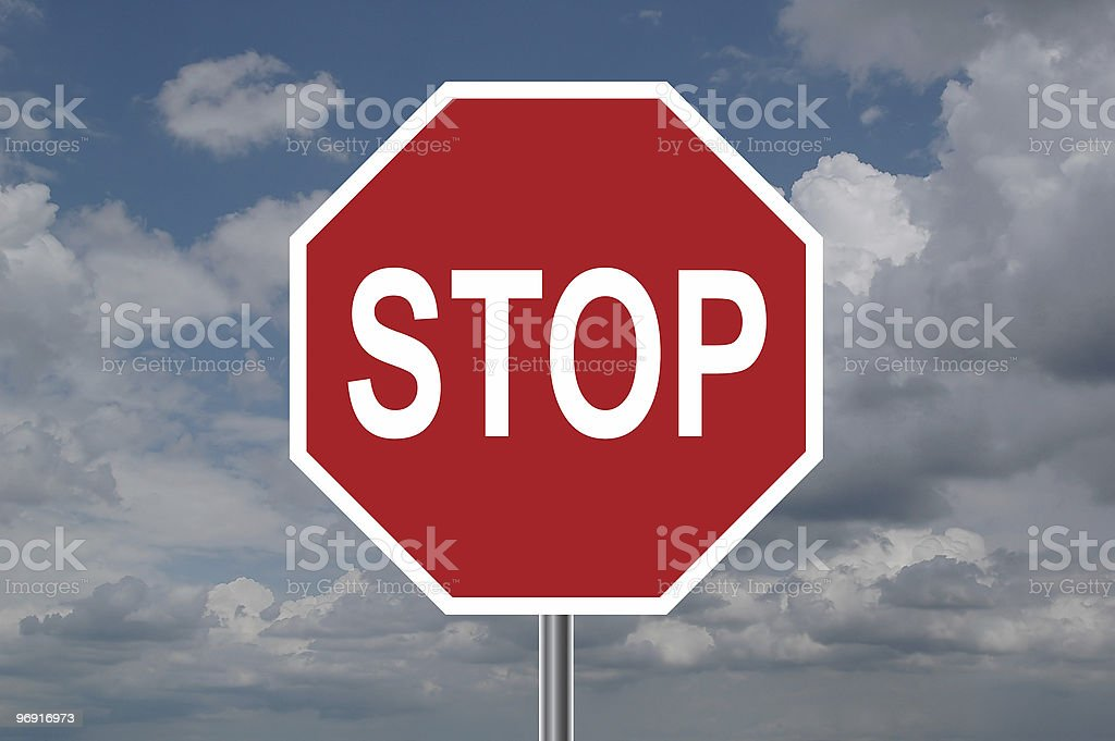 Stop Sign with Clouds royalty-free stock photo
