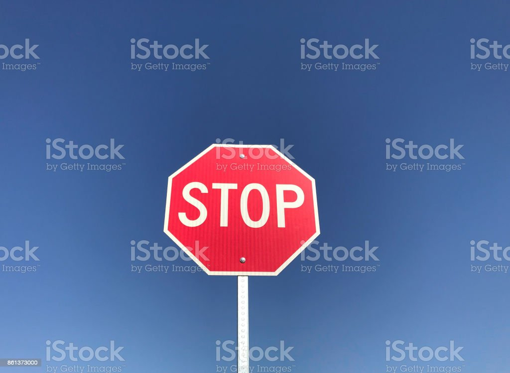 Stop Sign with Horizontal Orientation stock photo