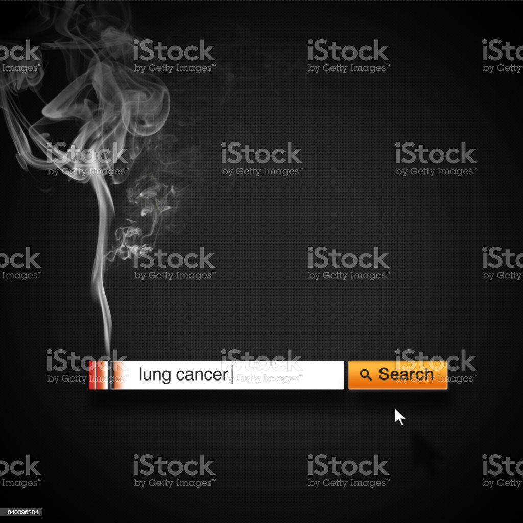 Stop smoking concept advertisement, search box look like a cigarette. stock photo