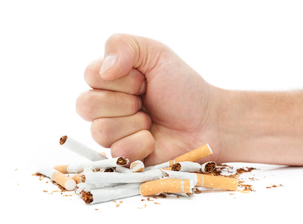 Stop smoking destroying cigarettes stock photo