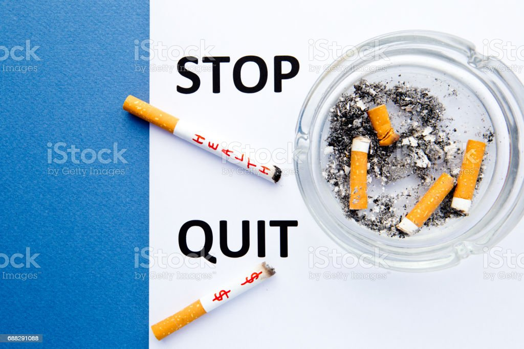 Stop Smoking - Stop and Quit - with cigarettes and ashtray with...