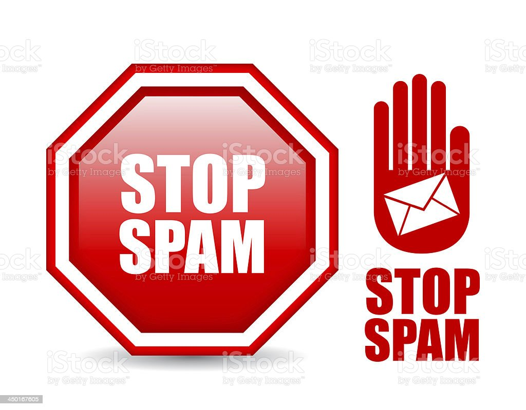Stop spam symbols stock photo