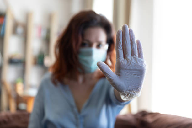 Stop!, stay away from me because i infected. Quarantine time, detention after infection. stock photo