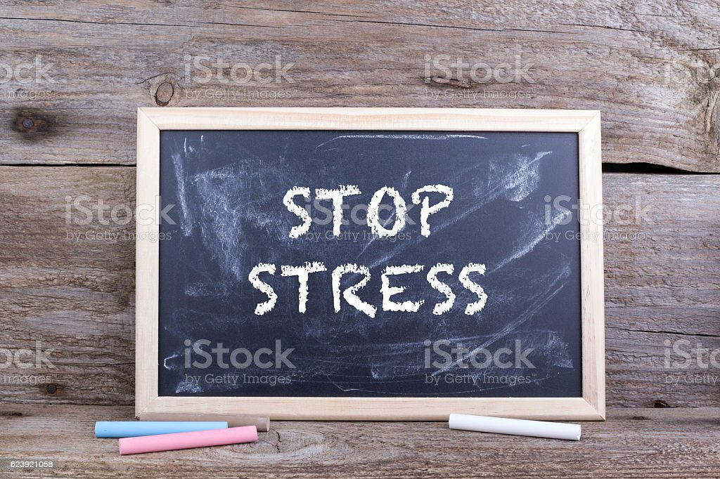 Stop Stress. Old wooden background stock photo