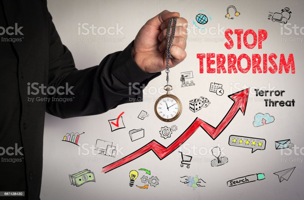 Stop terrorism concept. Red Arrow and Icons Around. Man holding chain clock on white background stock photo
