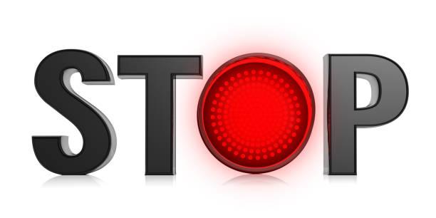dejen de texto y semáforo rojo aislado sobre fondo blanco. ilustración 3d - stop sign fotografías e imágenes de stock