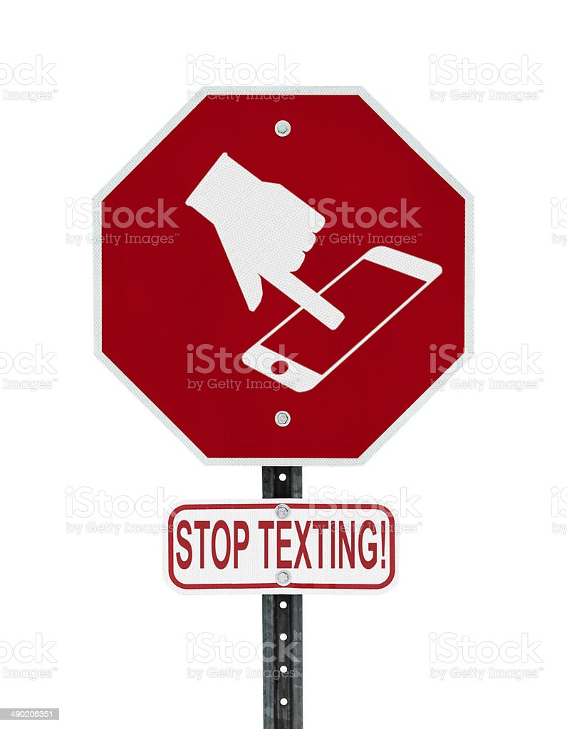 Stop Texting Icon Sign - isolated stock photo