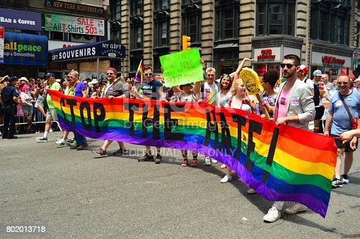 istock Stop the Hate - Marchers at the Gay Pride Parade in New York 802013718