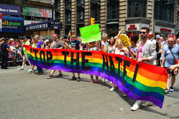 Stop the Hate - Marchers at the Gay Pride Parade in New York stock photo