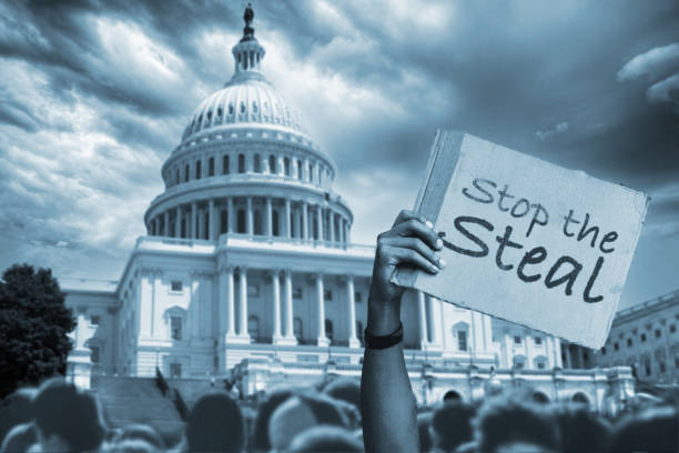 Stop the Steal protest in front of Capitol Building stock photo