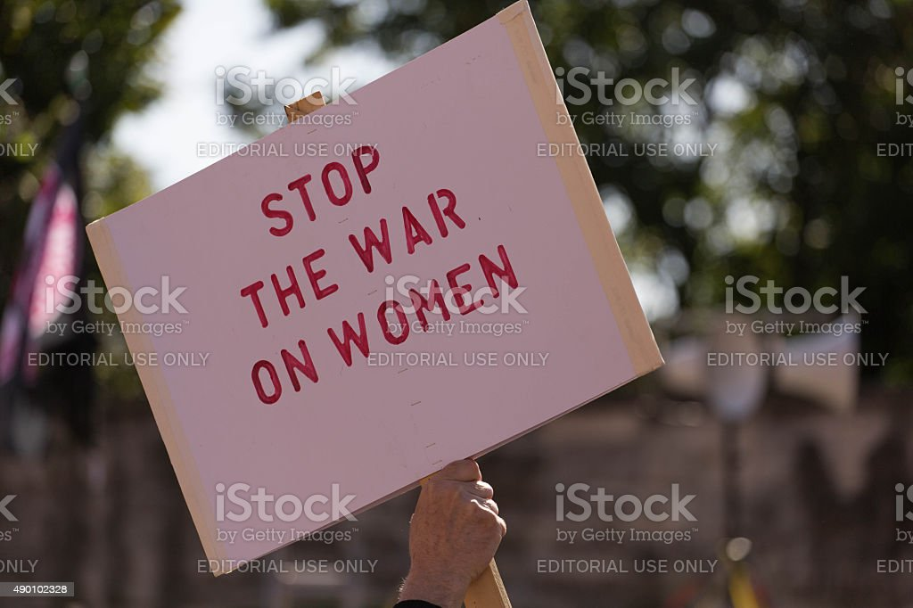 Stop the war on women stock photo