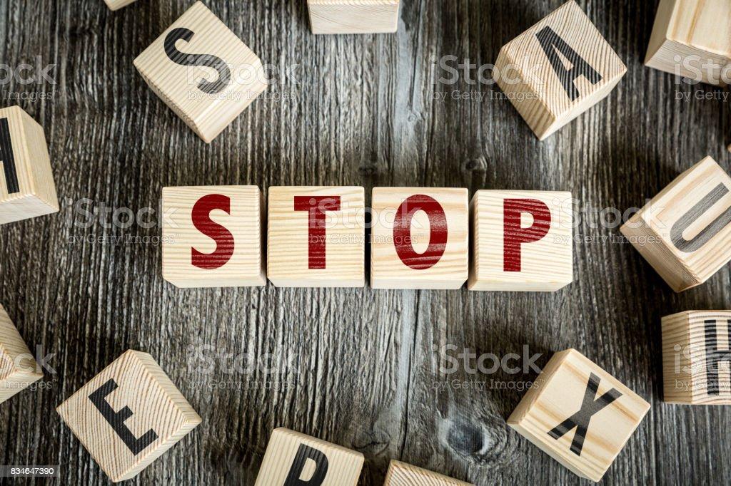 Stop toy block stock photo