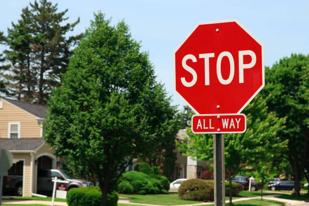 stop traffic sign  on country road - stop sign stock pictures, royalty-free photos & images
