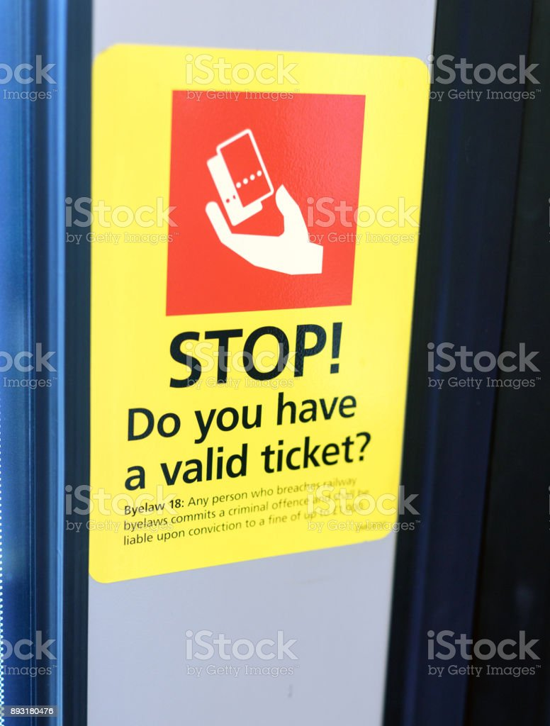 Stop Train Ticket Reminder Sign stock photo