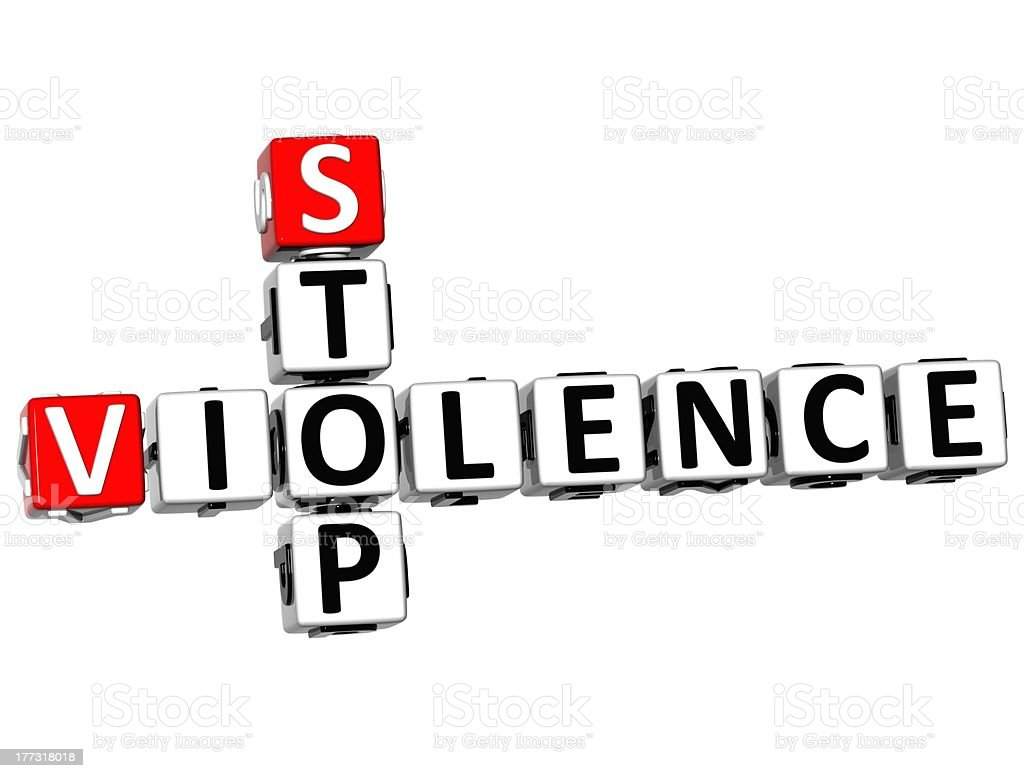 3D Stop Violence Crossword royalty-free stock photo