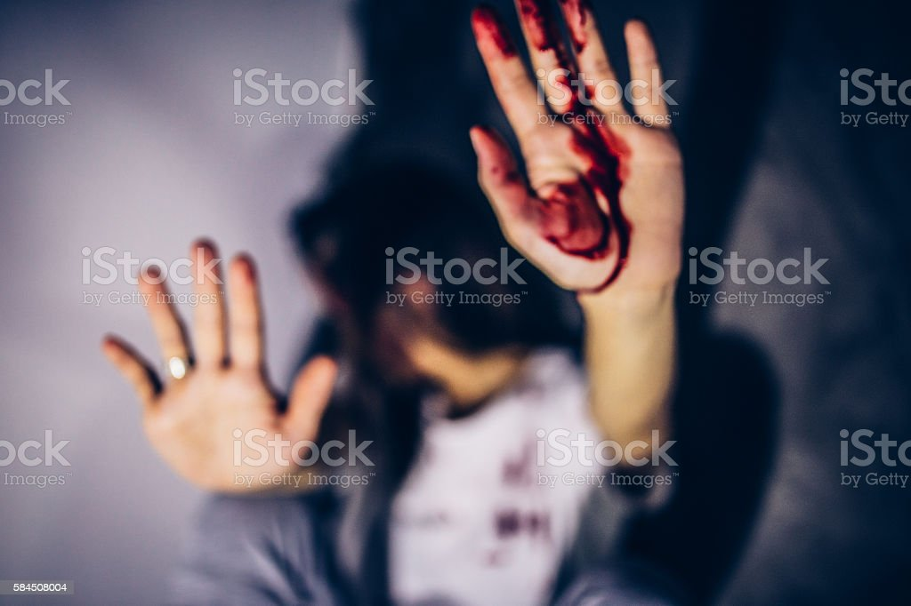 Stop violence over women stock photo