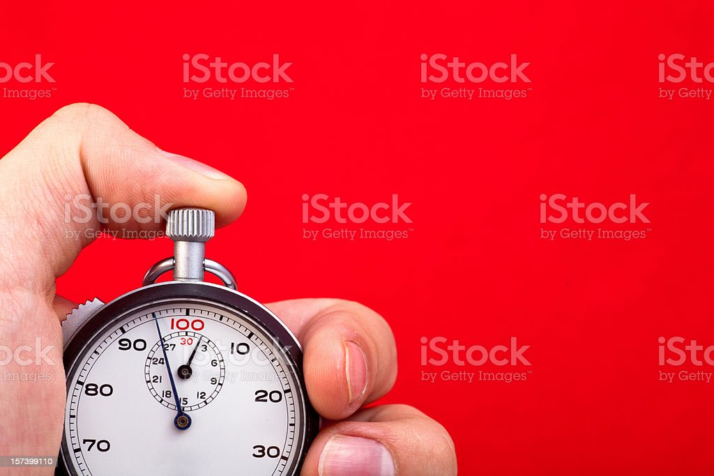Stop Watch In Hand Vintage, analog stopwatch in hand. Accuracy Stock Photo